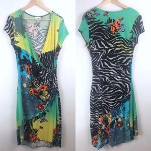 Joseph Ribkoff Zebra Floral Print Dress Size 14 US